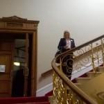 Salisbury, Guildhall, Sandy on the beautiful stairway
