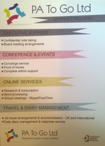 PA To Go Ltd New marketing material  - the flip side!